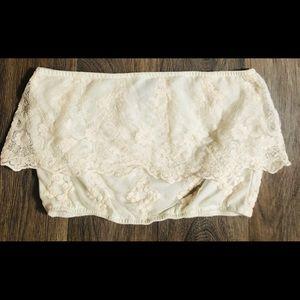 Cream lace tube top